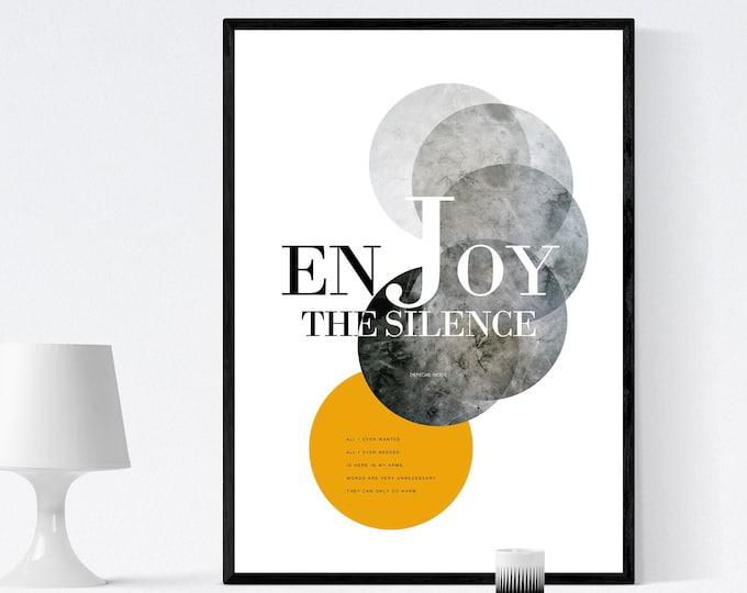Stampa: Enjoy the silence. Ispirazione Depeche mode. Stampa tipografica. Stile scandinavo. Idea regalo. Arte astratta. Arte geometrica.