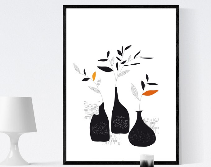 Print illustration with flower pots. Poster with abstract art. Modern Art. Typographical Printing. Scandinavian Style. Gift for wife.