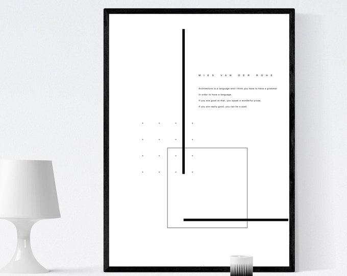 Poster ispirato all'opera di Mies Van Der Rohe. Citazione Mies. Architettura moderna. Stampa stile minimal. Regalo per un architetto.