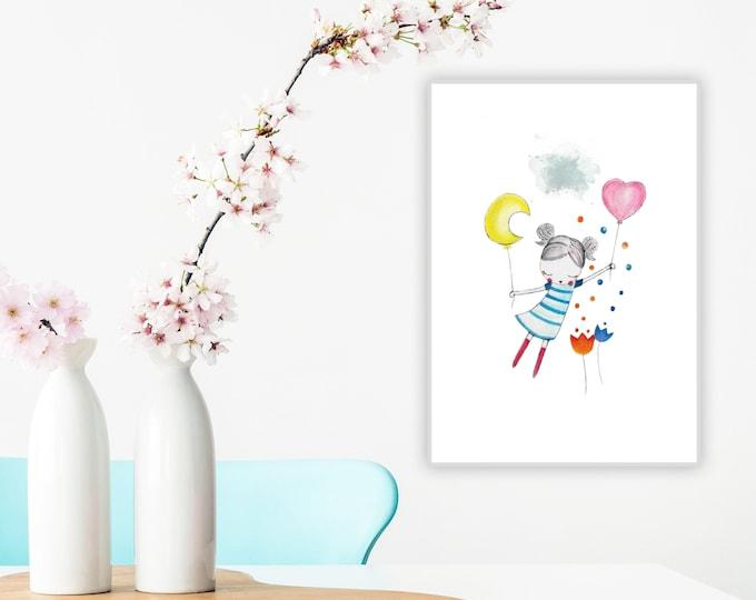 Illustrazione per cameretta: la bambina e i palloncini. Stampa tipografica. Decor personalizzabile per cameretta.