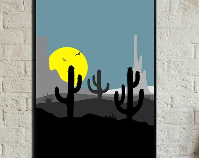 Poster con paesaggio astratto. Stampa cactus. Stampa tipografica. Stile nordico. Stampa decorativa.
