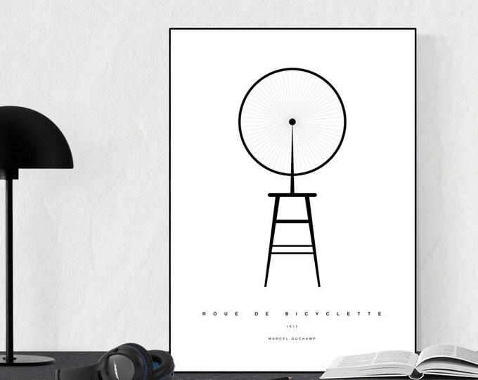 Poster con Roue de bicyclette. Stampa con citazione artistica dell'opera di Marcel Duchamp.