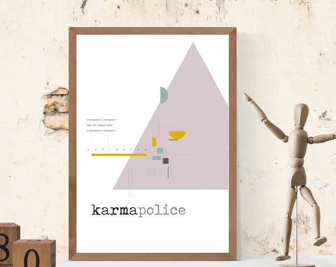 Stampa: Karma Police. Ispirazione Radiohead. Stampa tipografica. Stile scandinavo. Idea regalo. Stile nordico. Citazione musicale. Decor.