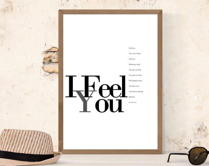 Stampa: I Feel You. Ispirazione Depeche Mode. Stampa tipografica. Stile scandinavo. Regalo per lei. Citazione musicale.