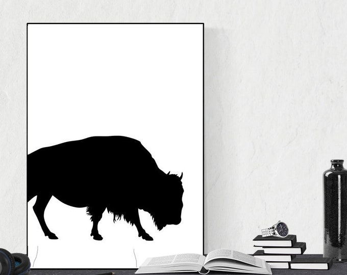 Stampa di un poster con bufalo. Arte astratta. Stampa tipografica. Stile scandinavo. Stampa decorativa murale.