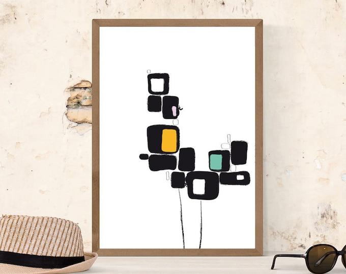 Stampa con arte astratta. Poster arte geometrica. Arte moderna. Stampa tipografica. Stile scandinavo.