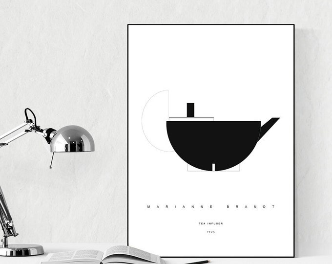 Press with Tea Infuser by Marianne Brandt. Bauhaus inspiration. Modern Design. Typographical printing. Scandinavian style. Decorative print.