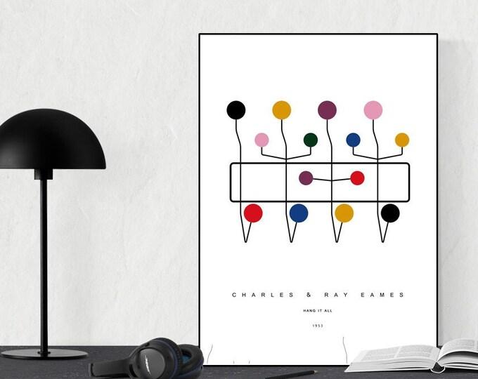 Stampa con icona del design: appendiabiti di Charles & Ray Eames. Design moderno.