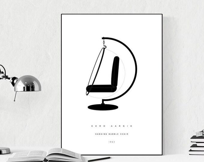 Stampa con Hanging Bubble Chair di Eero Aarnio. Design moderno. Stampa tipografica. Regalo per un architetto.