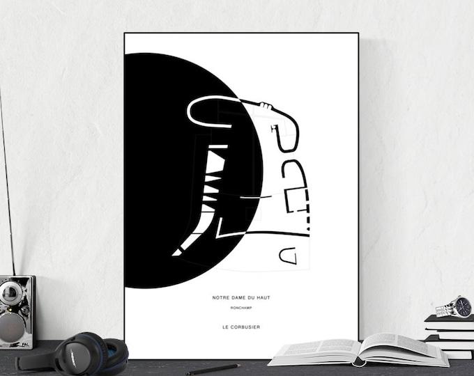 Stampa Notre Dame du Haut. Le Corbusier. Architettura moderna. Stampa tipografica.