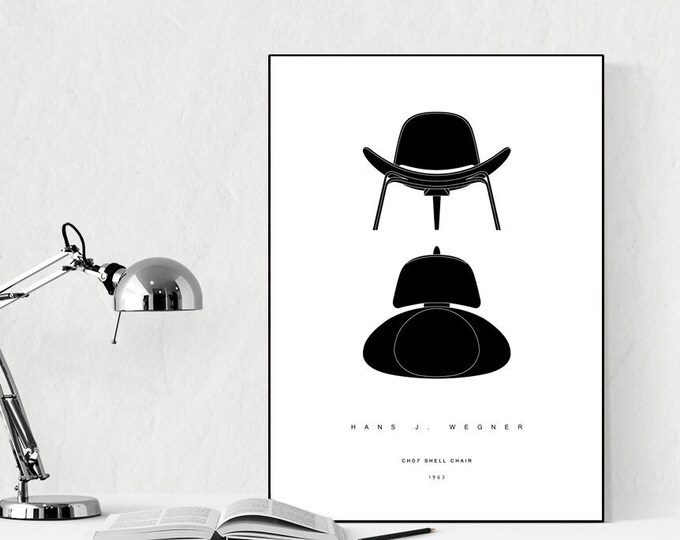 Stampa con CH07 Shell Chair di Hans J. Wegner. Stampa design moderno. Stampa tipografica. Stile scandinavo. Idea regalo. Decorazione parete.