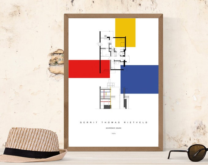 Stampa con SCHRODER HOUSE di Gerrit Rietveld. Stampa tipografica. Home decor. Office decor.