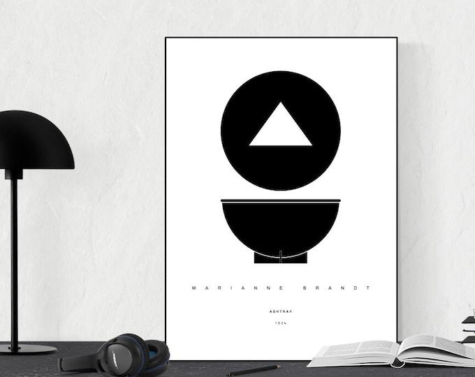 Stampa di un poster con Posacenere di Marianne Brandt. Ispirazione bauhaus. Design moderno.