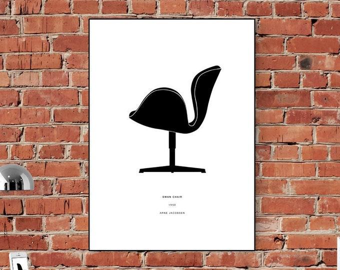 Stampa Arne Jacobsen: SWAN CHAIR. Stampa tipografica. Decorazione murale per ufficio.