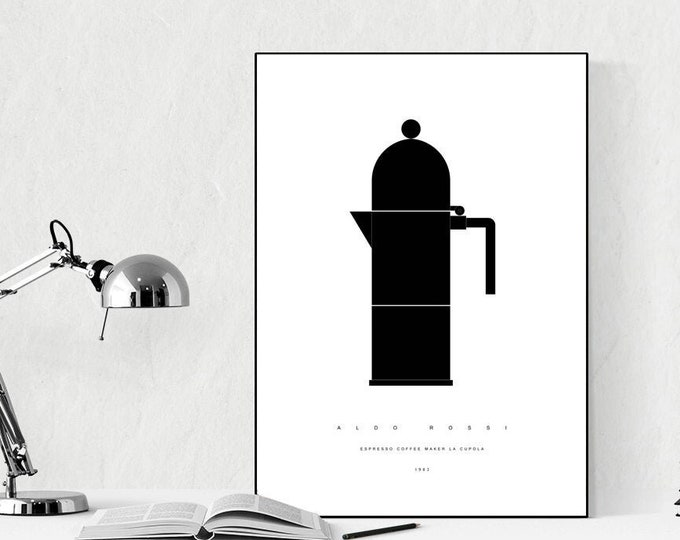 Coffee print The dome of Aldo Rossi. Modern poster design print. Printing typographic. Scandinavian style. Decorative print. Décor