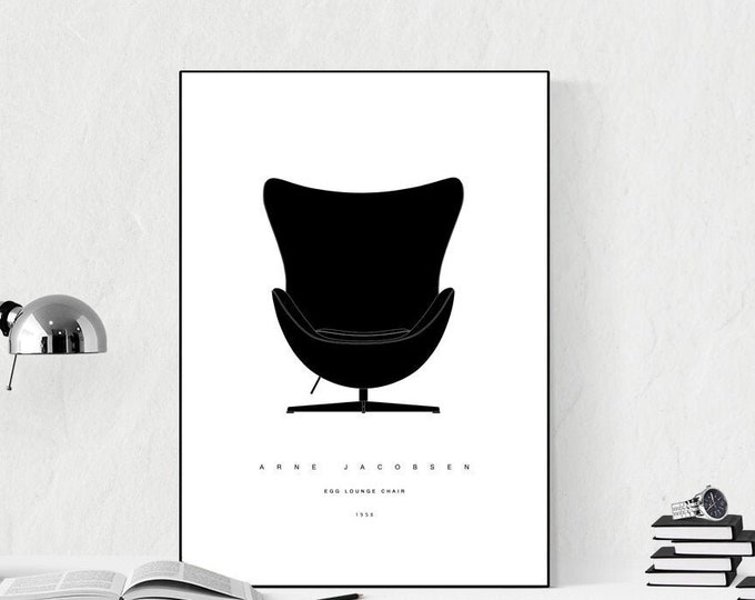 Stampa con EGG LOUNGE CHAIR di Arne Jacobsen. Stampa tipografica. Stile scandinavo. Idea regalo. Stile nordico. Design moderno. wall decor.
