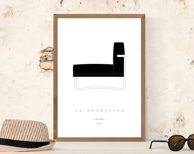 Print with Sofa LC5 by Le Corbusier. Typographical printing. Scandinavian style printing. Gift Idea. Decorative print. Modern Design.