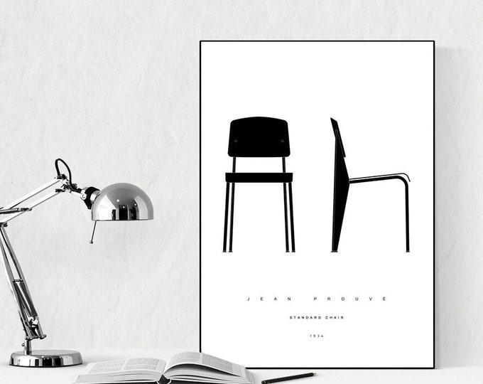 Stampa con Standard Chair di Jean Prouvé. Design moderno. Stampa tipografica. Stile scandinavo. Regalo per un architetto.
