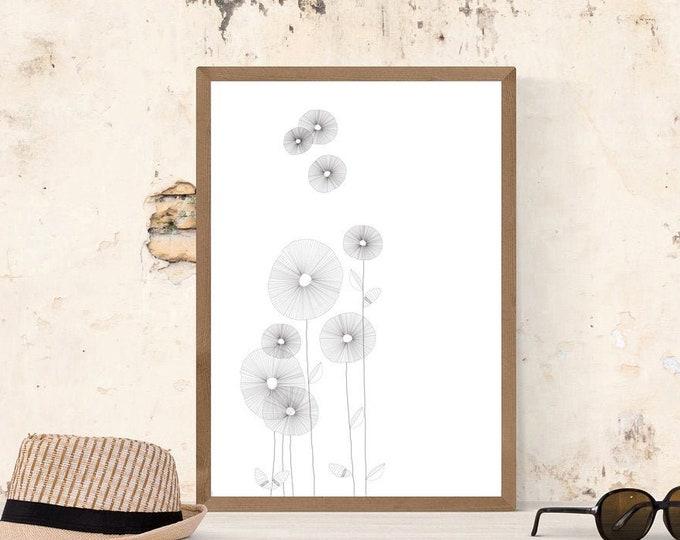 Stampa illustrazione con fiori. Poster con arte astratta. Arte moderna. Stampa tipografica. Stile scandinavo. Regalo per moglie.