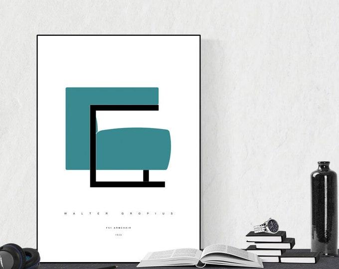 Stampa con F51 Armchair di Walter Gropius. Design moderno. Stampa tipografica. Stile scandinavo.