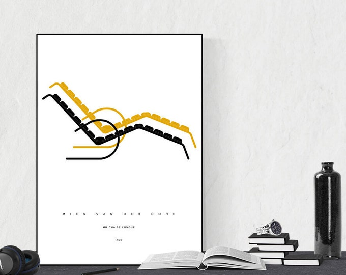 Stampa con MR Chaise Longue di Mies Van Der Rohe. Design moderno. Stampa tipografica.