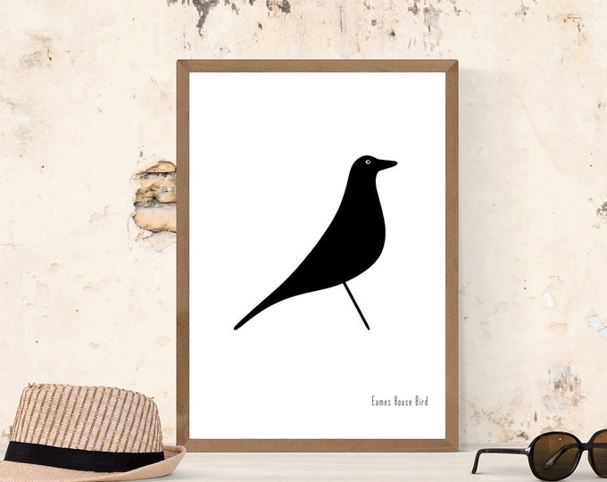 Stampa poster con Eames House Bird. Decor interni della Casa di Charles e Ray Eames. Regalo per un architetto.