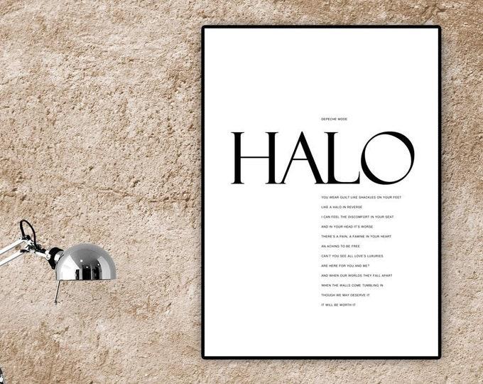 Stampa poster: Halo Depeche Mode. Stampa tipografica con citazione musicale. Idea regalo.