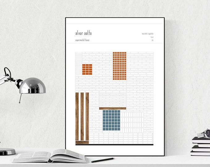 Detailed print of the Experimental House by Alvar Aalto. Typographical printing. Scandinavian style. Decor Office. Gift for architect.