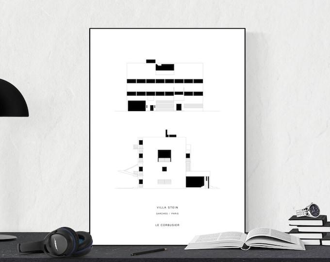 Stampa Villa Stein di Le Corbusier. Stampa Architettura moderna. Stampa decorativa da muro.