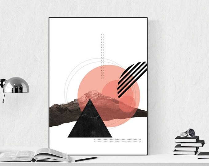 Stampa con collage. Stampa tipografica. Nero e rosa.