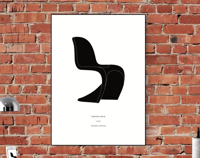 Stampa poster Verner Panton: Panton Chair. Design moderno. Stampa tipografica.