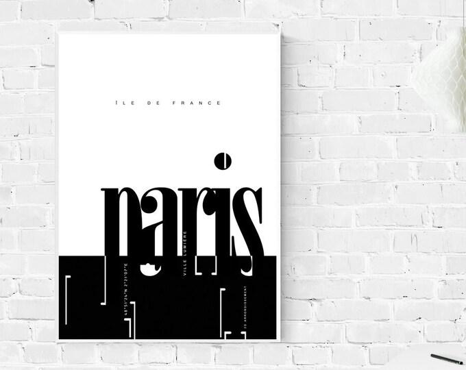 Parigi. Stampa tipografica in stile scandinavo. Stampa ricordo di viaggio.