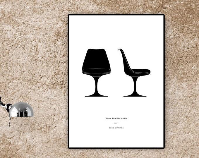 Stampa poster con Tulip Chair di Eero Saarinen. Design moderno. Stampa tipografica.