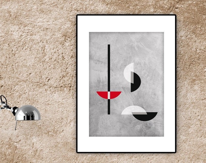 Stampa con arte astratta. Arte geometrica. Stampa tipografica. Ispirazione bauhaus.