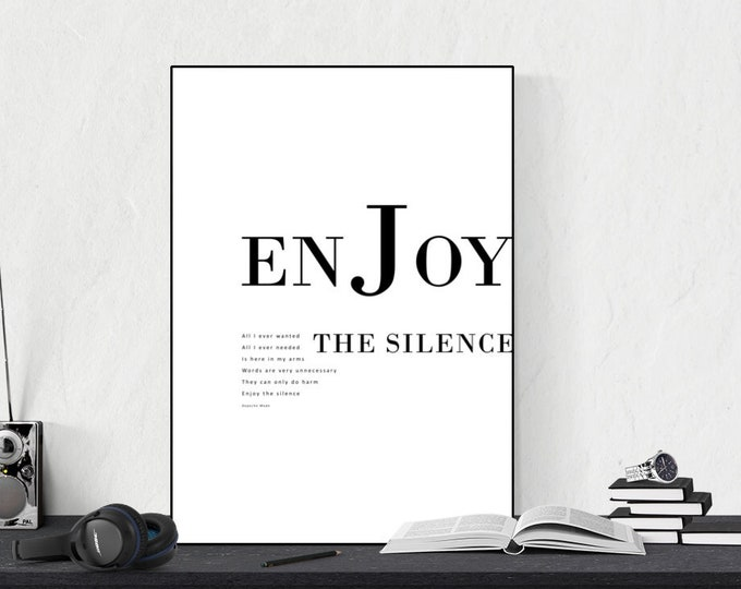 Stampa Depeche mode: Enjoy the silence. Stampa tipografica. Stampa in stile scandinavo.