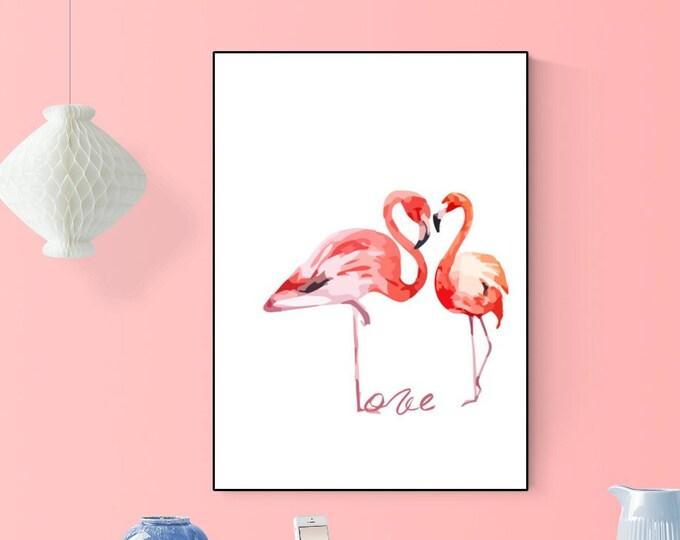 Stampa decorativa con fenicotteri. Stampa tipografica. Stampa con animali. Idea regalo di matrimonio.
