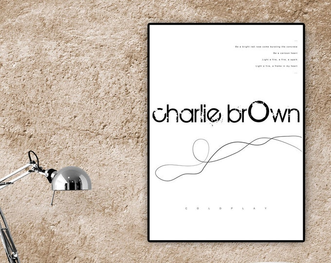Poster Coldplay: Charlie Brown. Decor. Stampa tipografica. Idea regalo.