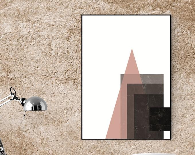 Stampa con arte astratta. Poster arte geometrica. Stampa tipografica. Decorazione ufficio.