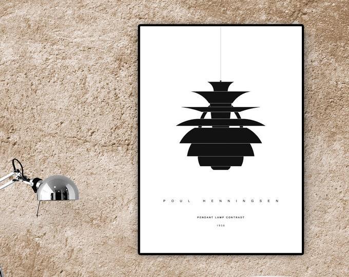 Stampa poster: Lampada Contrast di Poul Henningsen. Stampa in stile scandinavo. Design moderno.