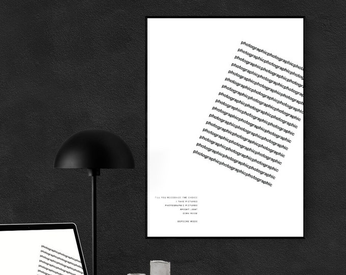Stampa poster: Photographic. Stampa tipografica. Stampa in stile scandinavo. Regalo per lui. Regalo per lei. Bianco e nero. Stampa decor.
