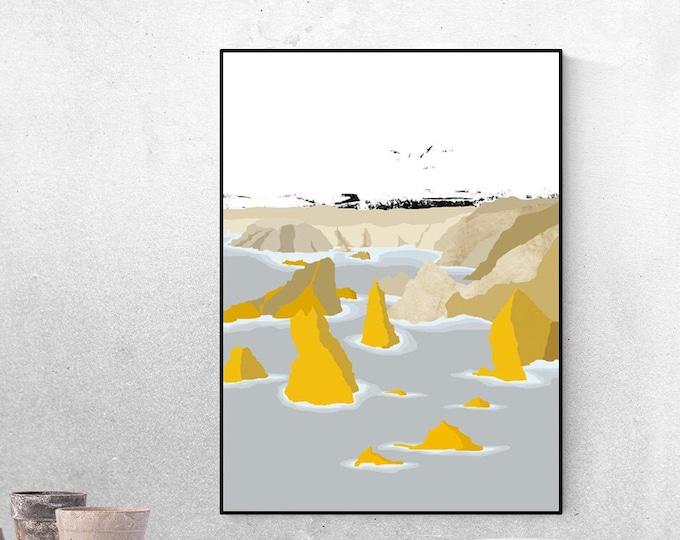 Stampa con paesaggio: Mangersta. Scozia. Viaggi nel mondo. Stampa con arte astratta.
