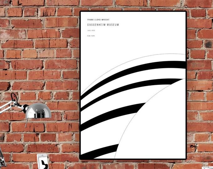 Stampa con Guggenheim a New York di Frank Lloyd Wright. Stampa tipografica. Stampa decorativa da muro.