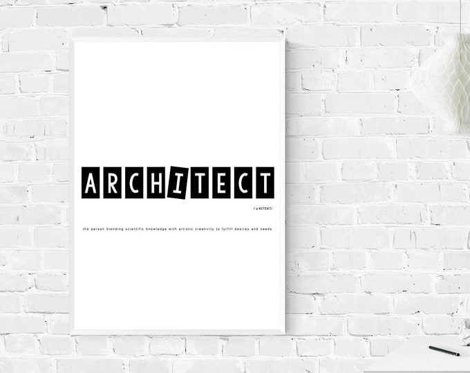 Stampa con definizione di ARCHITETTO. Stampa tipografica. Stampa stile nordico. Stampa decorativa murale.