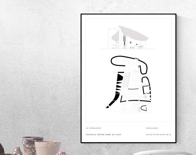 Stampa con Notre Dame du Haut di Le Corbusier Poster. Architettura moderna. Stampa tipografica. Regalo per un architetto.