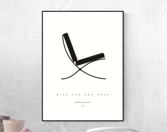 Stampa con Sedia Barcelona di Mies Van Der Rohe. Design moderno. Stampa tipografica.