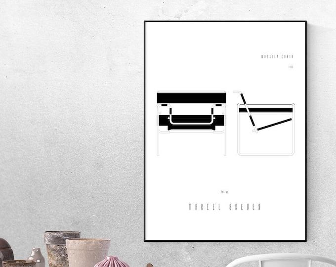 Stampa con Wassily Chair di Marcel Breuer. Design moderno. Stampa tipografica. Stampa decorativa parete.