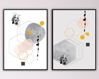 geometric furniture modern set of abstract art prints typographical printing scandinavian style dictic geometric art decorative print gift idea for her geometric furniture etsy
