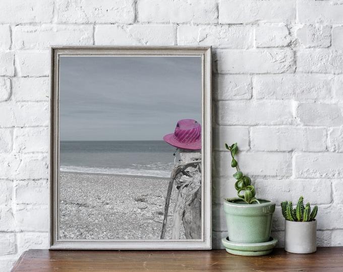 Stampa con foto del mare. Stampa tipografica. Stile scandinavo. Stampa decorativa murale. Stampa con foto in bianco e nero. Foto spiaggia.