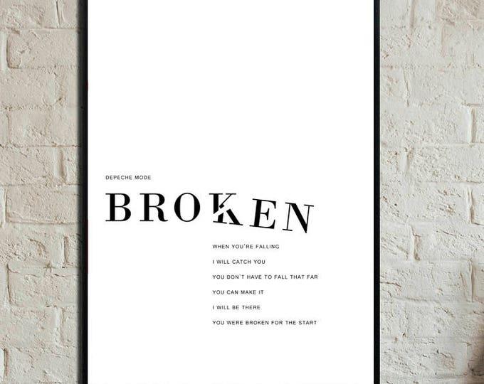 """""""Broken"""" Poster Depeche Mode. Stampa decorativa. Stampa tipografica con citazione musicale."""