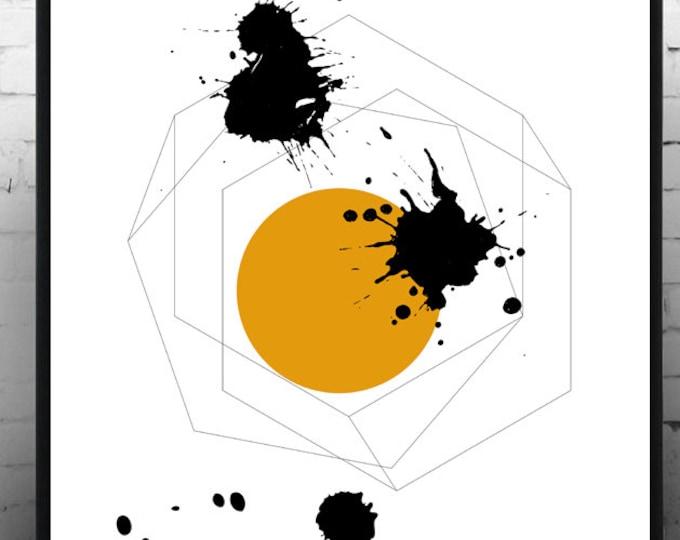 Stampa Poster astratto. Arte geometrica. Giallo e nero. Arte moderna.Stampa tipografica. Stile scandinavo. Decor parete. Stile nordico.